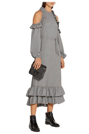 PASKAL Cutout ruffle-trimmed houndstooth woven midi dress