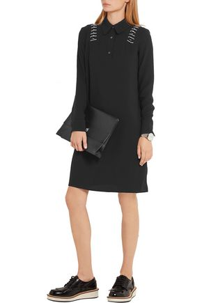 TIM COPPENS Lace-up crepe de chine dress