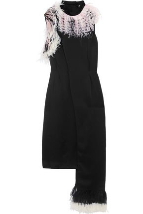 CHRISTOPHER KANE Paneled feather-trimmed crepe de chine dress