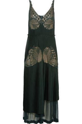 STELLA McCARTNEY Dondini lace-paneled pleated satin dress