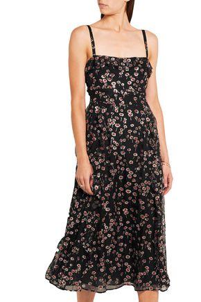 VALENTINO Ruffled glittered silk-georgette midi dress