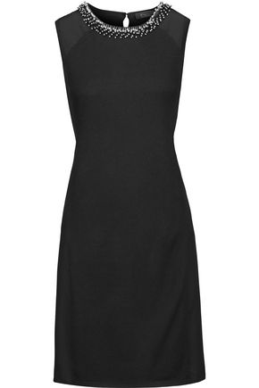 MAGASCHONI Embellished silk-paneled silk and cashmere-blend dress