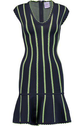 HERVÉ LÉGER Fluted striped stretch-knit dress