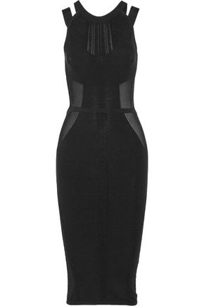 CUSHNIE ET OCHS Cutout paneled stretch-knit dress