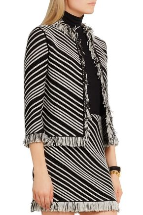 SONIA RYKIEL Fringed striped cotton-blend jacket