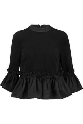 CINQ À SEPT Pearl ruffled faille-paneled crepe top