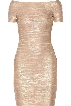 HERVÉ LÉGER Carmen off-the-shoulder metallic bandage mini dress