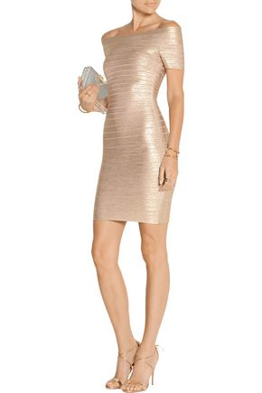 92d66c4e5d53 HERVÉ LÉGER Carmen off-the-shoulder metallic bandage mini dress