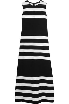 CALVIN KLEIN COLLECTION Striped stretch-knit midi dress