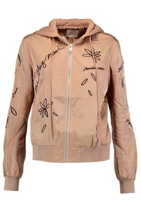 CINQ À SEPT Effie embroidered satin-shell hooded jacket
