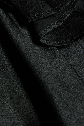 CINQ À SEPT Ruffled satin and crepe jacket