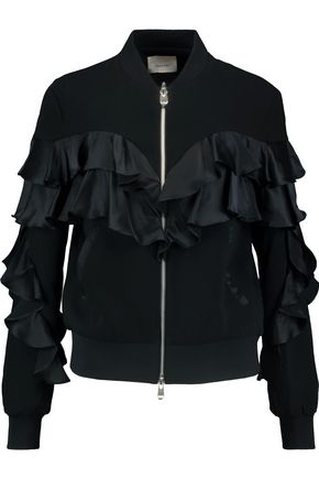 CINQ À SEPT Ruffled satin and crepe jacket