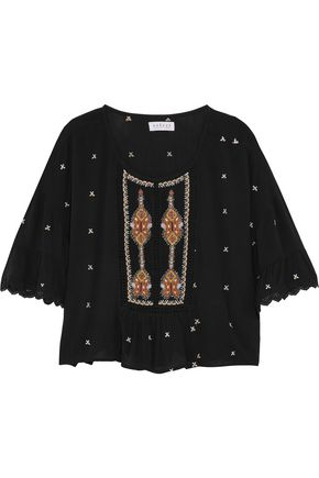 VELVET by GRAHAM SPENCER Macramé lace-trimmed embroidered gauze top