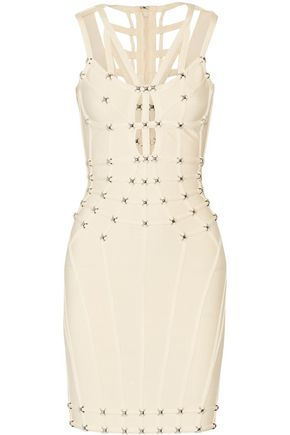 HERVÉ LÉGER Giulia cutout stud-embellished bandage mini dress