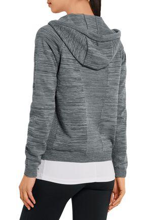 NIKE Tech piqué-paneled jersey hooded top