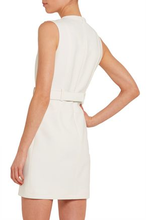 TOM FORD Leather-trimmed stretch-crepe mini dress