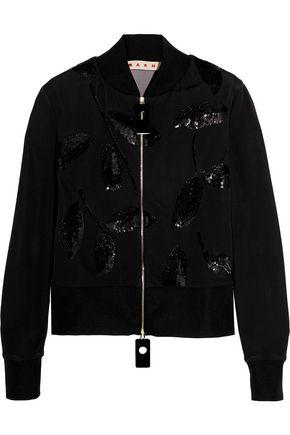 MARNI Sequin-embellished jersey bomber jacket