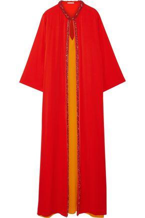 OSCAR DE LA RENTA Embellished silk-crepe gown