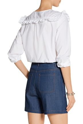 M.I.H JEANS Niki ruffled cotton-poplin shirt