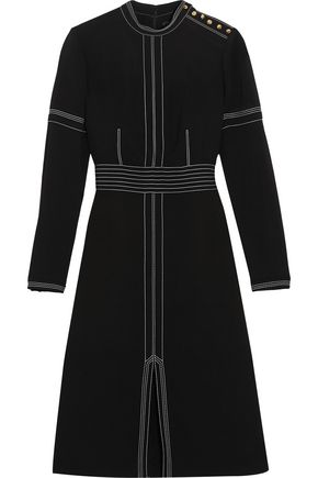 BURBERRY Stitched wool and silk-blend crepe dress