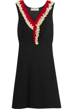 MARNI Ruffle-trimmed silk-crepe dress