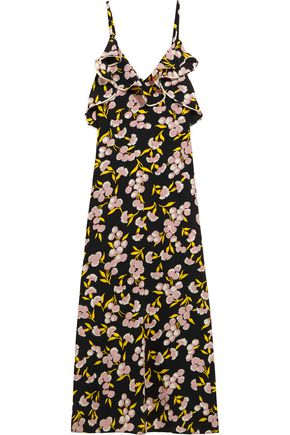 MARNI Ruffled floral-print silk-satin maxi dress