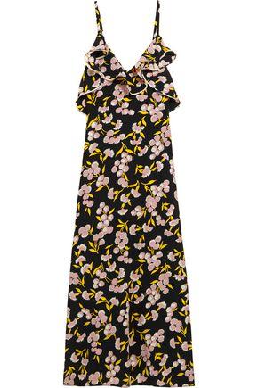 MARNI Ruffled floral-print silk-satin maxi dress