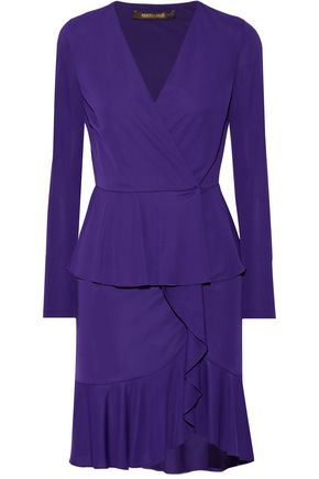ROBERTO CAVALLI Wrap-effect ruffled stretch-jersey mini dress