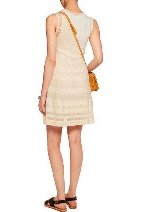 M MISSONI Ribbed and crochet-knit wool-blend mini dress