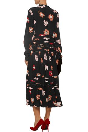 ROCHAS Lace-trimmed pintucked floral-print silk midi dress