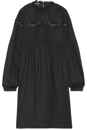 ROCHAS Lace-trimmed pintucked cotton-blend dress
