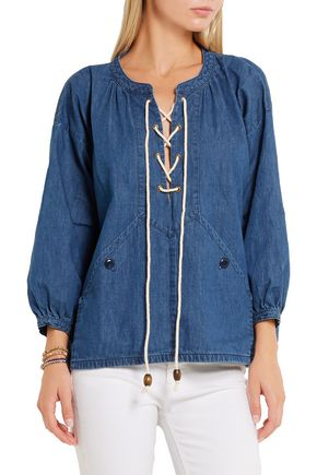 THE GREAT. Rope-detailed lace-up denim top