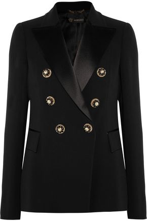 VERSACE Double-breasted satin-trimmed silk-crepe blazer
