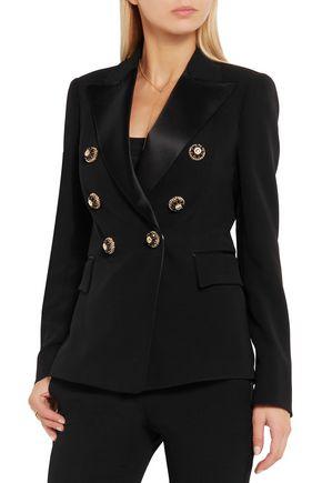 GIANNI VERSACE Embellished satin-trimmed silk-crepe blazer