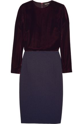 TOM FORD Velvet and stretch-crepe dress