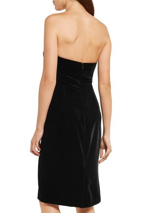 TOM FORD Strapless leopard-print calf hair-trimmed velvet dress