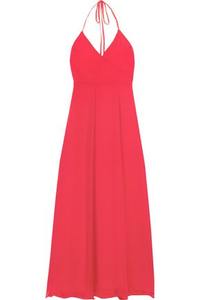 FRAME Le Maxi Halter crinkled silk-georgette wrap dress