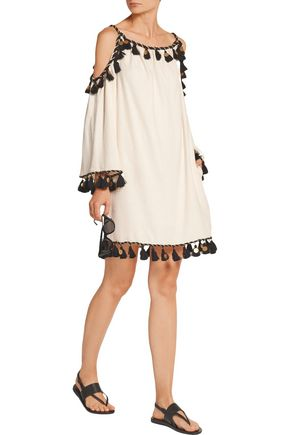 RACHEL ZOE Off-the-shoulder embellished silk-noil mini dress