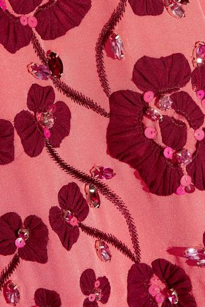 OSCAR DE LA RENTA Belted embellished silk crepe de chine gown