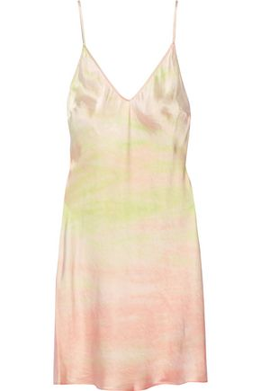 RAQUEL ALLEGRA Tie-dyed silk-satin slip dress