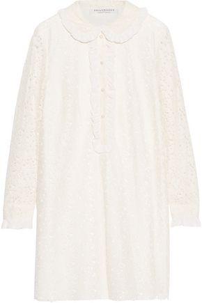 PHILOSOPHY di LORENZO SERAFINI Ruffled chiffon-trimmed cotton-blend lace mini dress