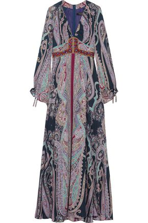 ETRO Embellished paisley-print silk maxi dress