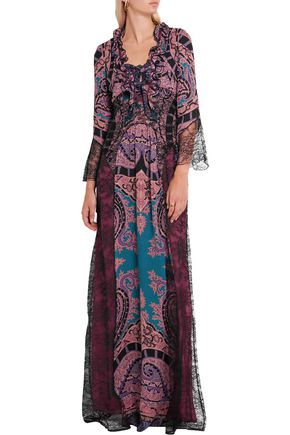ETRO Lace-paneled printed silk crepe de chine maxi dress