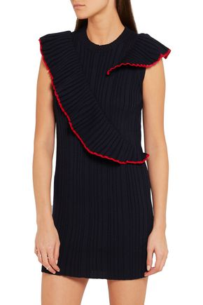 MSGM Ruffle-trimmed ribbed wool mini dress