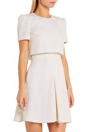 ALEXANDER MCQUEEN Layered wool-crepe mini dress