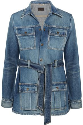 SAINT LAURENT Belted denim jacket