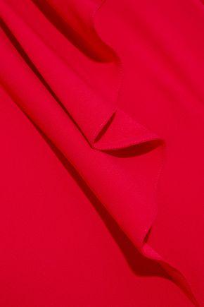 MARNI Asymmetric ruffled crepe dress