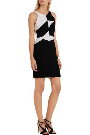 ANTONIO BERARDI Two-tone wool-crepe mini dress