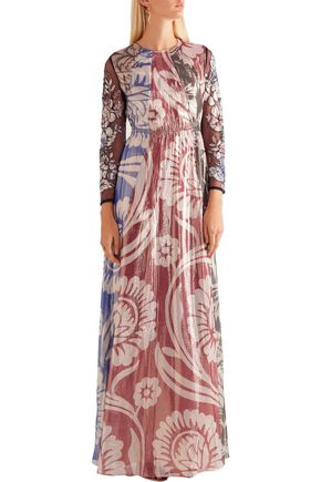 BIYAN Izoia appliquéd silk-blend lamé maxi dress