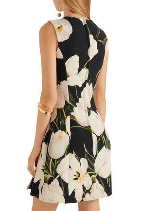 DOLCE & GABBANA Floral-print wool-crepe mini dress